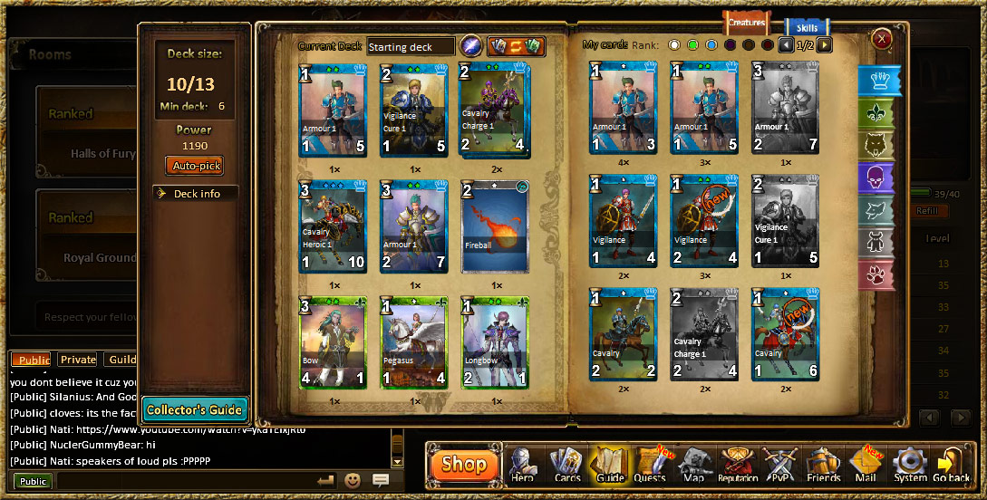 Rise of Mythos Browsergame Trade Card Game